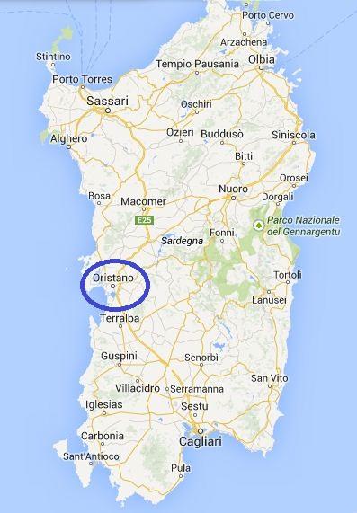 Kaart Sardinie